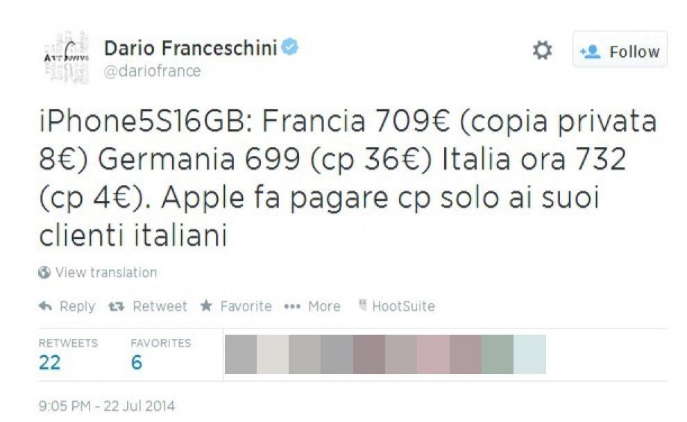 """Apple aumenta i prezzi. Franceschini: """"Pagano solo clienti italiani"""""""