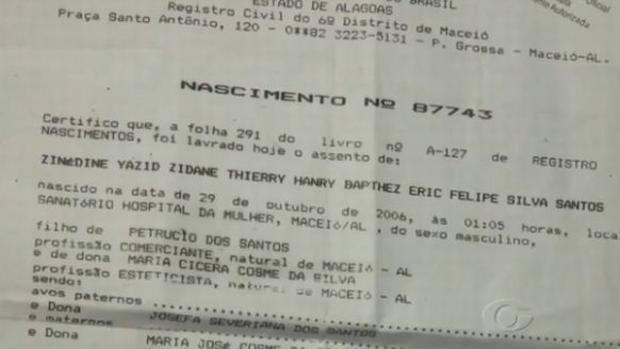 Il certificato di nascita di Zinedine Yazid Zidane Thierry Henry Barthez Eric Felipe Silva Santos