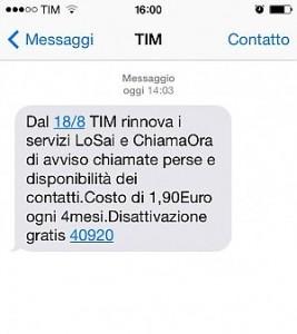 Il messaggio della Tim