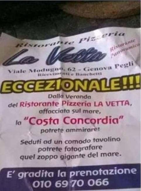 Costa Concordia, il ristorante di Genova che pubblicizza la vista sul relitto