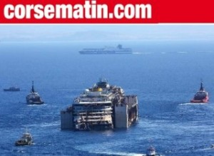 Costa Concordia, nave della marina francese la scorta al largo della Corsica