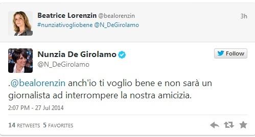 "Nunzia De Girolamo-Beatrice Lorenzin, pace via Twitter: ""Nunzia ti voglio bene"""