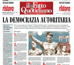 """Marco Travaglio sul Fatto Quotidiano: """"La democrazia autoritaria"""""""