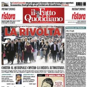 """Marco Travaglio sul Fatto Quotidano: """"Firmiamo per fermarli"""""""