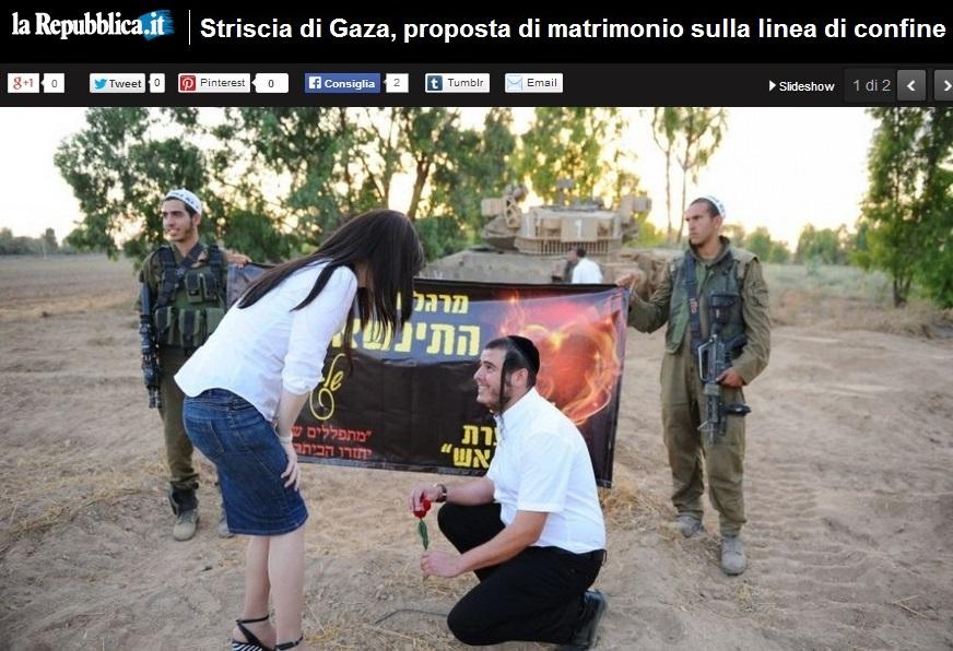Gaza, proposta di matrimonio sul confine