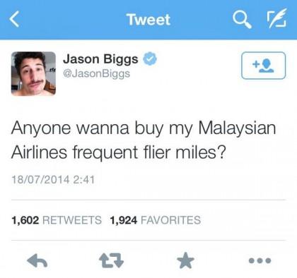 """Jason Biggs di American Pie: """"Qualcuno vuole acquistare le mie miglia della Malaysian Airlines?"""""""