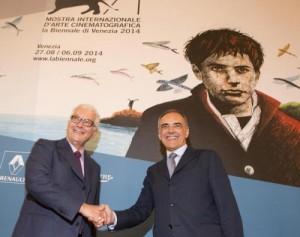 Il presidente della Biennale, Paolo Baratta e il presidente del Festival Alberto Barbera