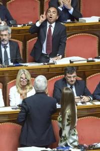 """Senato, Domenico Scilipoti urla contro Casini. Gasparri: """"Sedatelo..."""" (video)"""