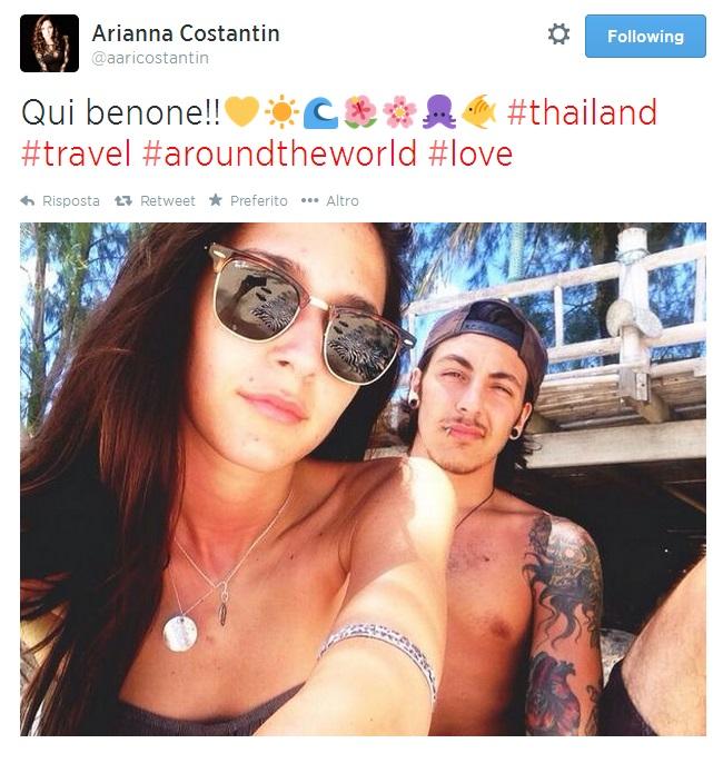 """Arianna Costantin, ultimo post su Twitter con Andrea Ferraresi: """"Qui benone"""""""