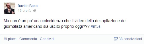 """Davide Bono (M5s): """"Video Foley mentre Renzi in Iraq: coincidenza?"""""""