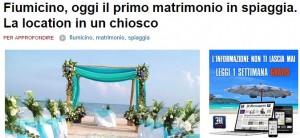 Fiumicino: primo matrimonio in spiaggia al Reef Village