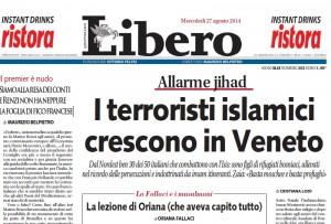 """Libero: """"I terroristi islamici crescono in Veneto"""""""