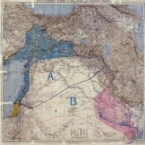 La mappa segreta segnata nel 1916 che divideva il Medio Oriente fra Francia (A) e Inghilterra (B). La parte in azzurro era sotto il diretto controllo francese, quella in rosa degli inglesi.