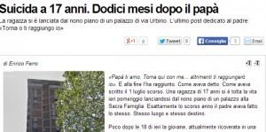 Irene Schianti, suicida a 17 anni dal nono piano, come il padre un anno fa