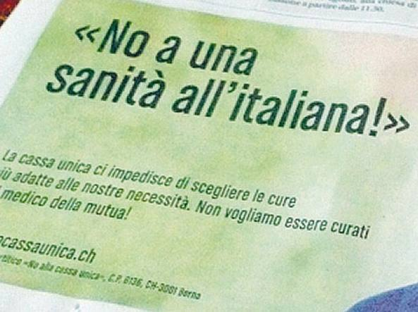 """""""No a una sanità all'italiana"""". Svizzera lancia campagna contro modello italiano"""