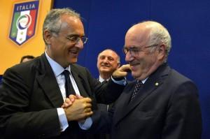 Lotito e Tavecchio (foto Lapresse)