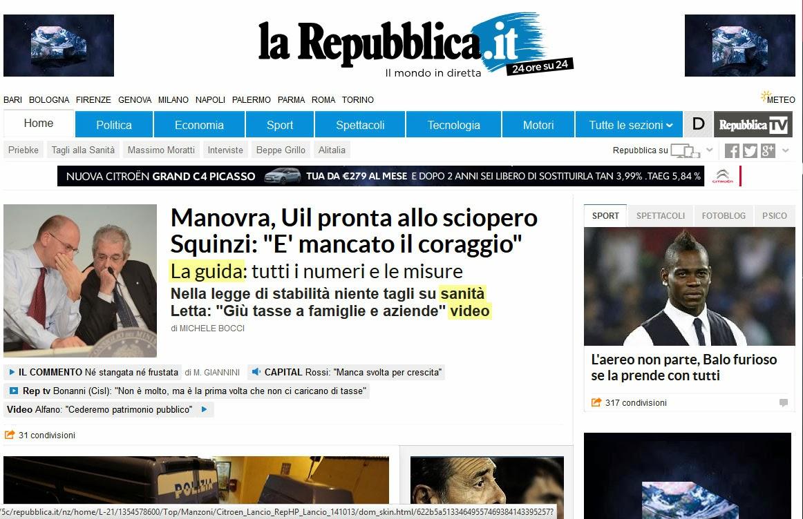 Repubblica down il sito non funzionava blitz quotidiano for Home page repubblica