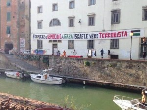 """""""Fermare il genocidio a Gaza, Israele vero terrorista"""" (foto Twitter)"""