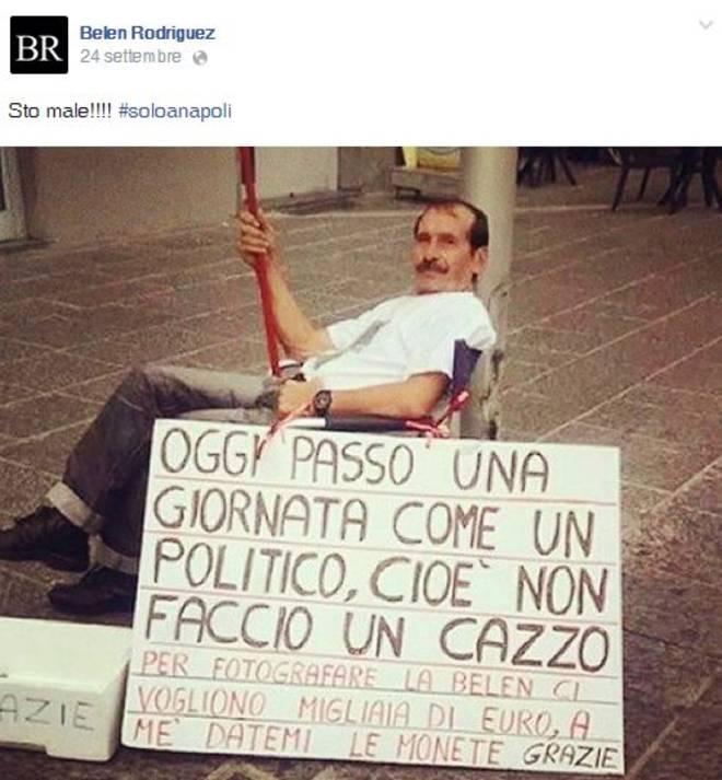 Belen Rodriguez pubblica foto di nullafacente e scrive #soloaNapoli
