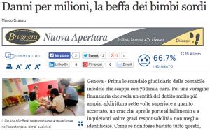 Genova, spariti milioni di euro dai conti del centro per bimbi sordi
