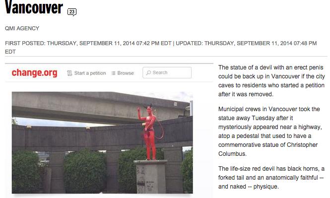 """Vancouver: statua del diavolo con pene eretto """"appare"""" in città"""