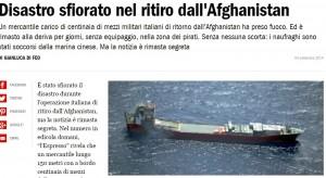 Altinia, cargo con blindati italiani a fuoco e abbandonato per una settimana