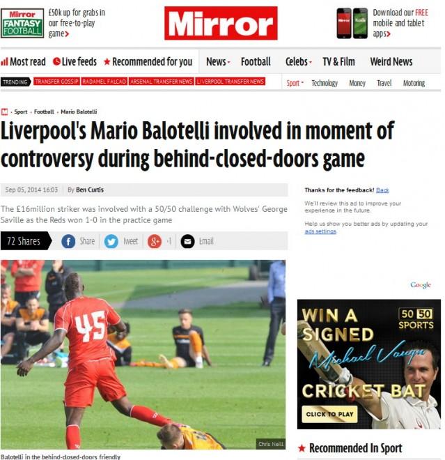 Mario Balotelli, calcio in testa a Brendan Rodgers mentre era a terra FOTO