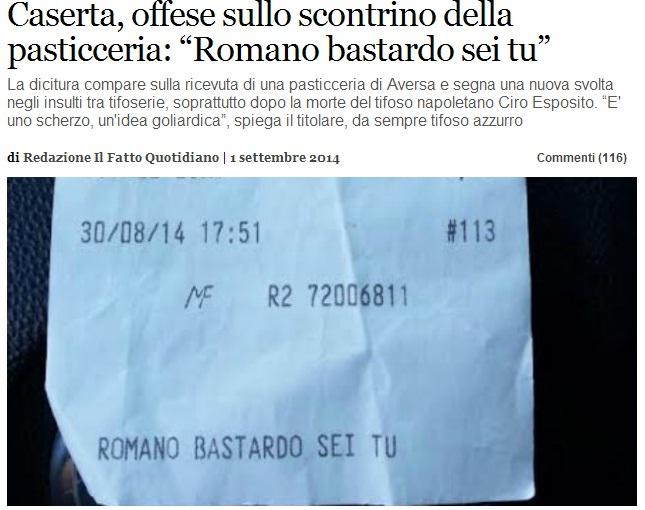"""Aversa, insulto sullo scontrino del bar: """"Romano bastardo sei tu"""" (Foto dal sito de Il Fatto Quotidiano)"""