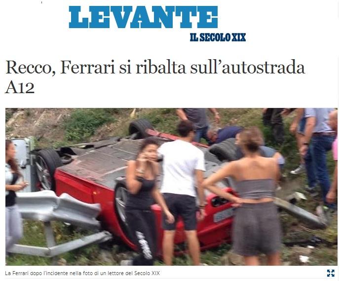 Ferrari si ribalta sull'autostrada A12 dopo incidente FOTO