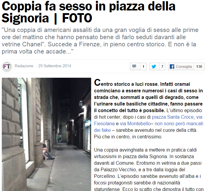 Firenze, sesso in piazza della Signoria (foto)