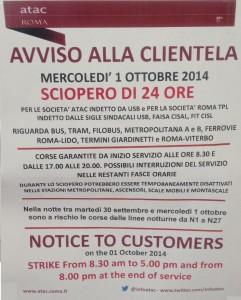 Sciopero trasporti Roma 1 ottobre 2014: orari Atac e fasce di garanzia