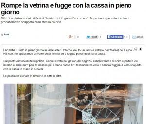 Livorno, furto con scasso: sfondano vetrina e si portano via la cassa. Di giorno