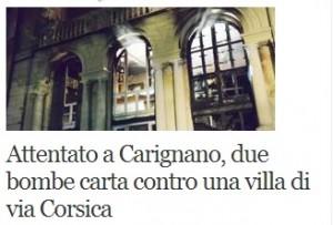 Genova, due bombe carta contro una villa a Carignano