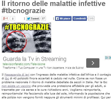 """Beppe Grillo: """"Torna la tubercolosi, frontiere aperte per non sembrare razzisti"""""""