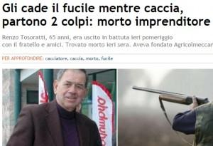 Renzo Torosatti muore durante caccia: cade e il fucile spara per sbaglio