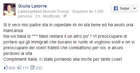 """Il marò Latorre ricoverato, la figlia Giulia su Facebook: """"Italia di ..."""""""