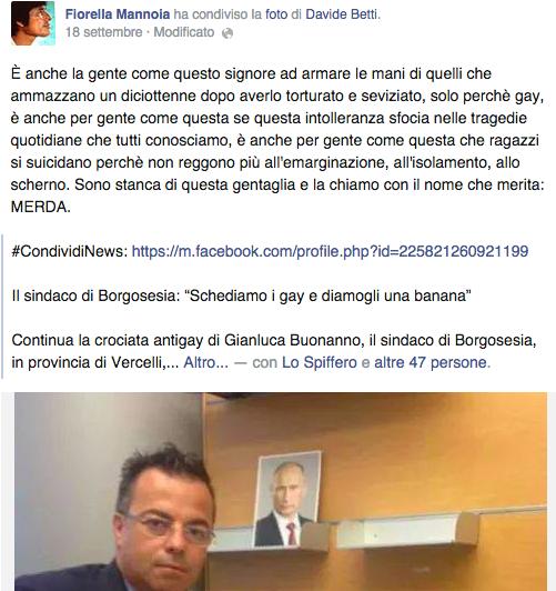 "Gay, Fiorella Mannoia a Gianluca Buonanno: ""Merda"""