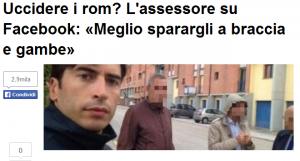 """Assessore Matteo Astolfi su Fb: """"Uccidere i rom? No, meglio sparargli a gambe, braccia e p..."""""""