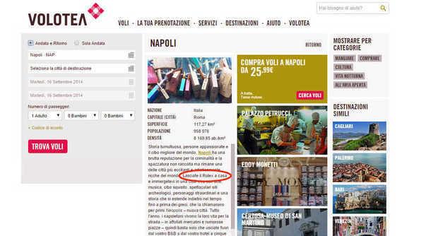 """Volotea, pubblicità: """"Napoli città eccitante e viva. Ma lasciate Rolex a casa"""""""