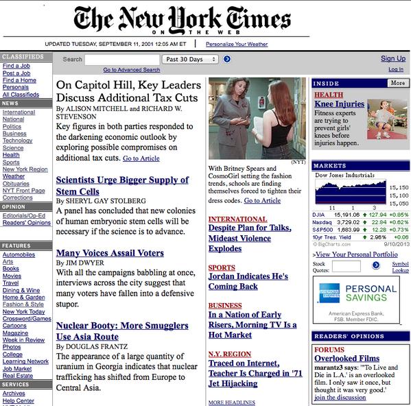 11 settembre, la prima pagina del New York Times prima del crollo torri FOTO