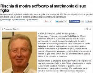 Padova, Carlo Marcato rischia di soffocare al matrimonio del figlio