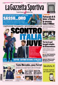 """Gazzetta dello Sport: """"Scontro Italia - Juventus per Giorgio Chiellini"""""""