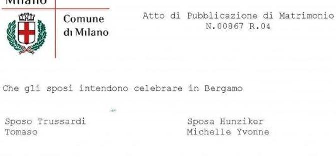 Michelle Hunziker-Tomaso Trussardi, le pubblicazioni: si sposano a Bergamo