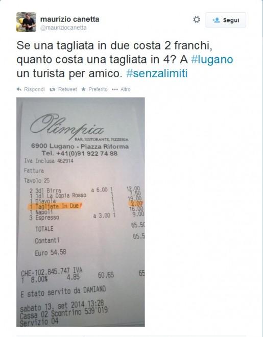 Lugano, vuoi la pizza tagliata in due? Costa 2 franchi: Lo scontrino su Twitter