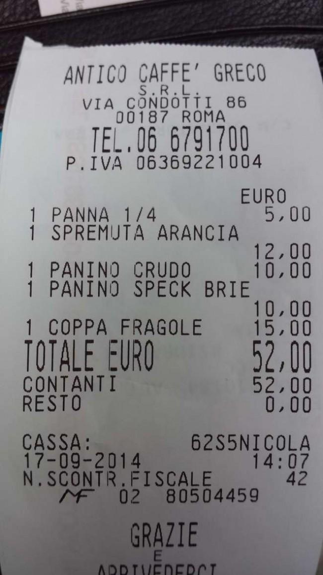 Roma, 2 panini, una spremuta, panna e coppa di fragole per 52 euro