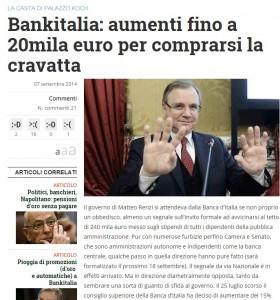 """Libero: Banca d'Italia aumenta a 20 mila euro """"l'indennità di cravatta"""" per i dirigenti"""