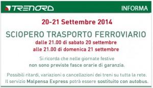 Sciopero treni 20-21 settembre 2014 (Trenitalia e Trenord): orari treni regionali e frecce