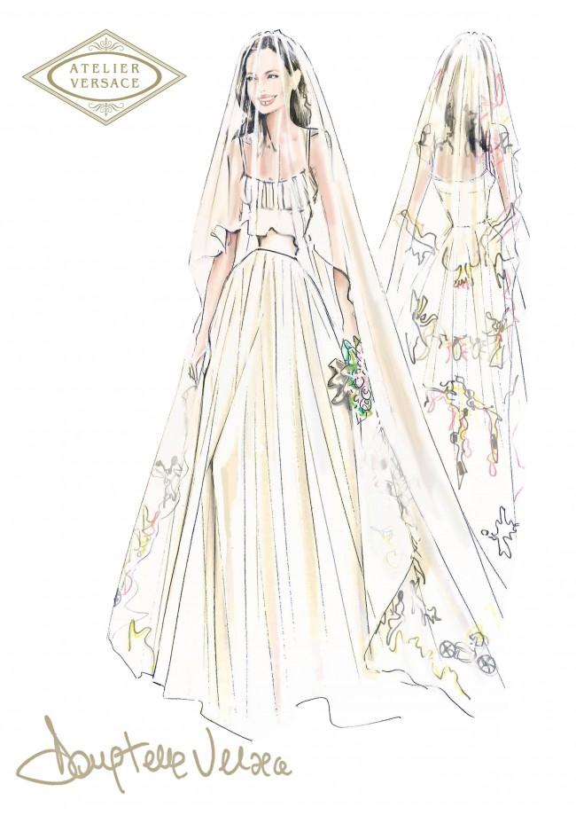 Angelina Jolie, il suo abito da sposa disegnato da Donatella Versace
