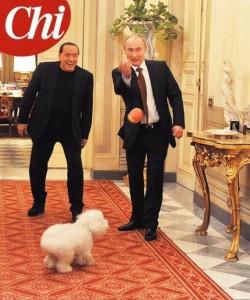 Berlusconi, Putin e il cagnolino Dudù sulla copertina di Chi