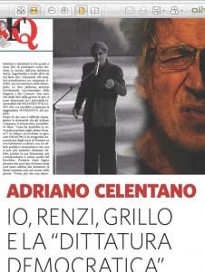 """Adriano Celentano sul Fatto Quotidiano: """"Renzi, Grillo e la dittatura democratica"""""""